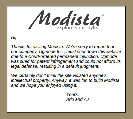 Modista shut down notice